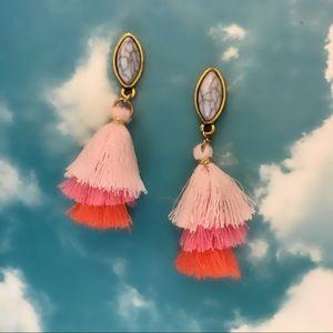 Coral and pink mini pagoda tassel earrings
